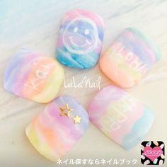 ネイル デザイン 画像 1517907 タイダイ マリン トロピカル グラデーション Water Color Nails, Water Marble Nails, Toe Nail Art, Easy Nail Art, California Nails, Rainbow Nail Art, Magic Nails, Galaxy Nails, Japanese Nail Art