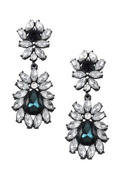 """These glamorous and luxe earrings are set in gunmetal with clear marquis shaped crystals and accented with teal and navy crystals. Post earrings.    Measures: 2.5"""" L x 1"""" W   Regal Earrings by Lolly Ella. Accessories - Jewelry - Earrings - Statement Michigan"""