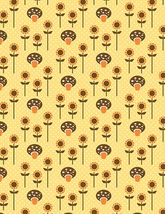 mushroom daisies - would be a cute wallpaper for childrens room - kat kalindi cameron #pattern #surfacepatterndesign