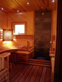 "I'd love to have a sauna (BTW it's pronounced SOW-na, NOT ""sahhna"" people!) like my grandparents had. Sauna Ideas, Portable Sauna, Finnish Sauna, Sauna Room, Saunas, Western Red Cedar, Painted Doors, Extra Seating, Grandparents"