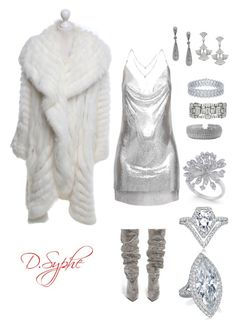 """""""Ice Queen"""" by dsyphe on Polyvore featuring Yves Saint Laurent, ESCADA, Bavna, Bulgari and Messika"""
