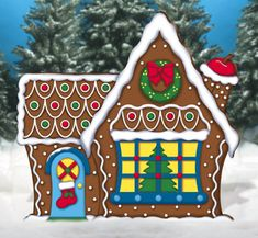 Giant Gingerbread House Woodcraft Pattern - this colorful holiday display stands over 5 feet tall!