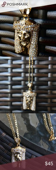 New 14k Gold Finish Jesus Pendant Chain Brand new never worn before. Men's Gold Chain and with Jesus Pendant. 14k Gold Plated. A must for the summer and vacation! 24 inches in length Accessories Jewelry