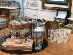 70's Barware   4 Duck Glasses  $12  Cocktail Shaker  $22  Four Bar Glasses Signed Fred Press $24  Mid Century Dallas Booth 766  Lula B's 1010 N. Riverfront Blvd. Dallas, TX 75207 Mid Century Bar, Cocktail Shaker, Mid Century Furniture, Barware, Dallas, Glasses, Eyewear, Eyeglasses, Eye Glasses