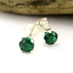 Sterling Silver Emerald Gemstone Stud Earrings , Dainty May Birthstone Jewelry
