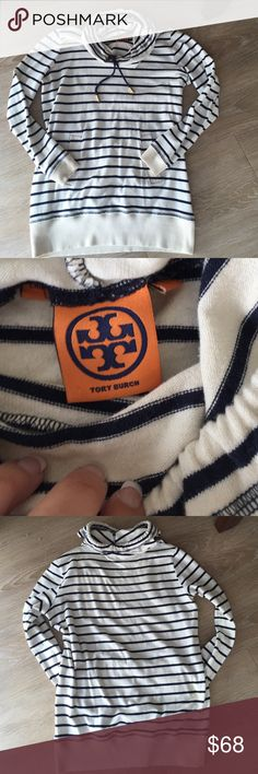 """Tory Burch Long Sleeve Tunic Tory Burch Long Sleeve Tunic; Front Pocket Pouch; Ribbed Cuffs and Hem; 100% Cotton; Machine Wash; Approx. Measurements: Length: 27"""", Bust: 18""""; Gently Worn Tory Burch Tops Tees - Long Sleeve"""
