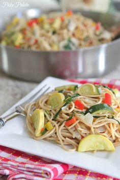 Vegetable Party Spaghetti with Warm Garlic- Thyme Olive Oil via @PickyPalate