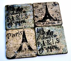 SALE Set of 4 Paris French Chic Drink Coasters  by TheRustiqueEdge, $20.95 Coaster Crafts, French Chic, Drink Coasters, Paris, Drinks, Unique Jewelry, Handmade Gifts, Vintage, Etsy
