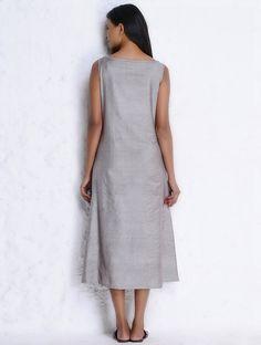 Buy Grey Silk Cotton Sleeveless Dress with Pockets by Jaypore Online at Jaypore.com