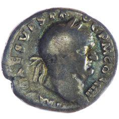 Vespasianus 69 - 79 Denar Silber  Av.: IMP CAES VESP AVG PM COS IIII, belorbeerter Kopf rechts. Rv.: AVGVR/TRIPOT, dazwischen Priestergeräte