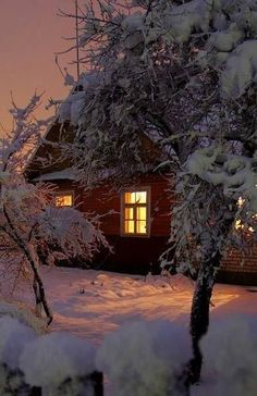 A warm light glowing through a window on a cold night is just about the best thi… – Winterbilder Winter Szenen, Winter Magic, Winter Time, Snow Scenes, Winter Beauty, Winter Pictures, Winter Landscape, Beautiful Landscapes, Wonderland