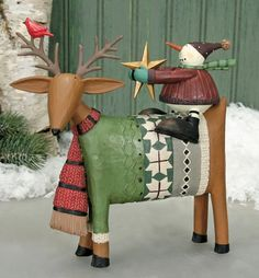 Snowman Sitting on a Deer Holding a Star Figurine : The Official Williraye Studio Store, Folk Art Collectibles and Figurines $40.00