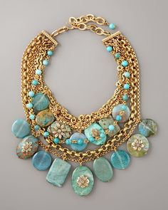 Stephen Dweck Turquoise Pebble Necklace - so stunning and love all the detailing