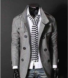Free Shipping Mens Trench Coat Double Breasted Slim Stand Collar Wind Jacket Woolen F17-in Apparel & Accessories on Aliexpress.com
