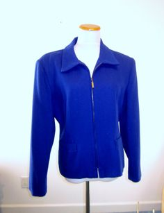 Vintage 80s Royal Blue Wool Jacket Womens by MarjoriesMemories, $36.00