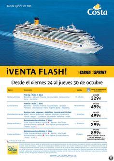 Costa Cruceros - Venta Flash desde 299 Euros (Tasas de embarque incluidas) ultimo minuto - http://zocotours.com/costa-cruceros-venta-flash-desde-299-euros-tasas-de-embarque-incluidas-ultimo-minuto/