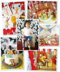 Adorable circus-themed birthday party for tots. The circus diorama is a keeper.