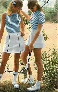 1970s Tennis outfits- reminds me of when my cousin and I tried playing tennis- we ran after the ball more than hit it!