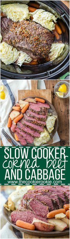 Traditional Slow Cooker Corned Beef and Cabbage, and MUST MAKE for St. Patrick's Day! Such an fun and easy recipe to celebrate St. Patricks Day! Corned Beef, Cabbage, Potatoes, and Carrots!