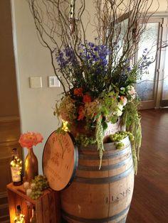 Wine themed wedding, wine barrel with a gorgeous flower arrangement Blush Bridal Showers, Bridal Shower Rustic, Wedding Color Pallet, Theme Nature, Wedding Shower Decorations, Wine Decor, Wine Parties, Garden Theme, Trendy Wedding