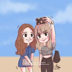 [FA] selfie 🤳💕 🔪Do not edit/repost my work🔥 Bff Drawings, Drawings Of Friends, Jennie Lisa, Blackpink Lisa, Pretty Art, Cute Art, Ghost Stories Anime, Anime Dolls, Creative Artwork