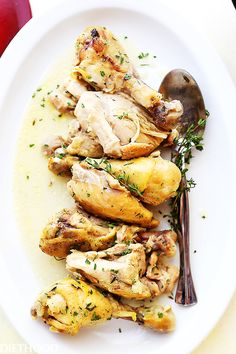 Coconut Milk and Thyme Braised Chicken - Delicious and easy to make one pot chicken dinner cooked in thyme-infused coconut milk and garlic.