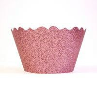 Mini Glitter Princess Pink Cupcake Wrappers - Includes 18 cupcake wraps