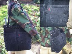Black up-cycled Levi's denim jeans hand bag. Close up of pocket. Side view shows stud detail and curved bottom.