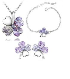 Beautiful purple crystal lucky clover set!