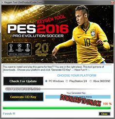 PES 2016 Free CD Key Generator: We present to you the new and refreshed PES 2016 Free CD Key Generator. We choose to make this PES 2016 Keygen to assist kindre Generate Key, Pro Evolution Soccer, Soccer Games, Generators, Have Fun, Food And Drink, Sad, Audio, Coding