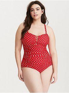 1d4a1ee0c60 Polka Dot Print Lattice Front One Piece Swimsuit