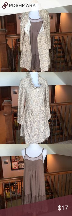"""Boho Chic Jacket & Slip Dress Bundle- ❤️this!!! STUNNING 100% Polyester Jacket(23""""L from armpit). Tank dress(26""""L from armpit) Polyester/Cotton with lace insets, adjustable straps. Mannequin size Small 2-4. Retails $250! Flawless condition. Young Essence Dresses Midi"""