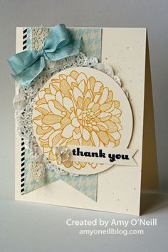 Something Soft and Pretty Posted on October 24, 2013 by amyoneillblog | Stamps: Regarding Dahlias; Ink: Crushed Curry, Black, Sahara Sand (splatters and sponging on doily); Paper: Very Vanilla, Etcetera dsp, Modern Medley dsp; Embellishments: Tea Lace Paper Doilies, Pool Party 1/2″ Seam Binding ribbon, Circles Collection framelits, Victoria 5/8″ Crochet Trim, Vintage Faceted Designer Buttons, White Baker's Twine