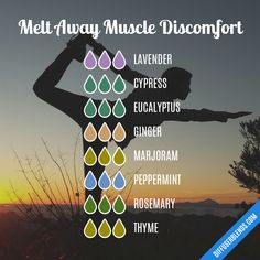 Melt Away Muscle Discomfort - Essential Oil Diffuser Blend by lenora Essential Oils For Pain, Essential Oil Diffuser Blends, Essential Oil Uses, Doterra Essential Oils, Doterra Blends, Doterra Diffuser, Oils For Energy, Aromatherapy Oils, Diffuser Recipes
