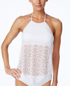 Bleu by Rod Beattie keeps you feminine and undeniably chic on the beach with this crocheted halter tankini. | Nylon/spandex; lining: polyester/spandex | Hand wash | Imported | High halter neckline | N