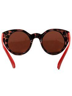 Circle Cat Eye Sunglasses - Tortoise/Red