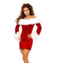 2014 mujeres vestido de Navidad sexy trajes rojos de la Navidad de santa claus para adultos
