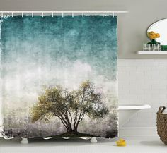 Amazon.com: Ambesonne Tree of Life Decor Collection, Grunge Landscape with Single Tree and Stained Retro Background Rustic Home, Polyester Fabric Bathroom Shower Curtain, 84 Inches Extra Long, Teal Green Beige: Bedding & Bath