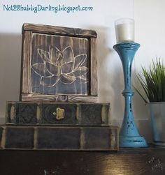 Lotus hand painted/stained on wood. Lotus hand painted/s Retro Home Decor, Unique Home Decor, Diy Home Decor, Wood Staining Techniques, Paint Stain, Wood Projects, Lotus, Decorative Boxes, Shabby
