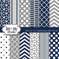 navy and gray digital scrapbook papers by lane + may on Etsy, $7.50