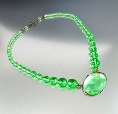 Czech Glass Art Deco Necklace Lime Green Faceted Glass by boylerpf