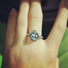 The Adriana Ring with Blue Topaz sparkles on this James Avery customer! #JamesAvery #BlueTopazRing