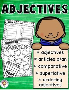 Adjectives Printables and Interactive Notebook Templates - Enjoy this bundle of adjective printables, graphic organizers, interactive notebook templates and an assessment. There are many different ways to read every child in your classroom! Order Of Adjectives, Examples Of Adjectives, Adjectives Activities, English Adjectives, Writing Resources, School Resources, Flip Book Template, Part Of Speech Noun, Adjective Words