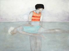 """Giclee art print of original painting. figure portrait art. """"The Swim Lesson"""" by inapaleplace on Etsy https://www.etsy.com/listing/164361899/giclee-art-print-of-original-painting"""
