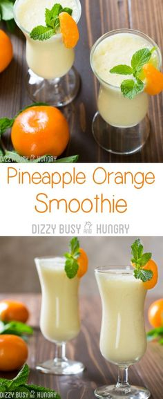 Pineapple Orange Smoothie - Brighten your day with this delicious and healthy smoothie recipe, great for breakfast or anytime! This smoothie is packed with Vitamin C and antioxidants. Its the perfect stress-buster smoothie recipe. Fruit Smoothies, Smoothie Drinks, Healthy Smoothies, Healthy Drinks, Healthy Recipes, Healthy Food, Detox Drinks, Nutrition Drinks, Healthy Breakfasts