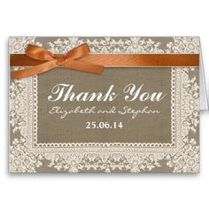 wedding thank you burlap lace and ribbon cards