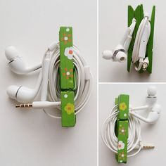 Handy upcycled clothespin headphone holder by Sheri Pavlović Tired of your headphone wires getting tangled up? Keep them sorted out and tidy with my handy upcycled clothespin headphone holder! Diy Crafts How To Make, Diy Crafts For Adults, Diy Crafts Hacks, Craft Projects For Kids, Diy Crafts For Boyfriend, Diy Headphones, Headphone Holder, Diy Tumblr, Dollar Store Crafts