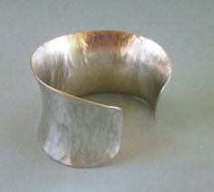Sterling Silver Cuff Bracelet Hammered Silver by SeventhWillow