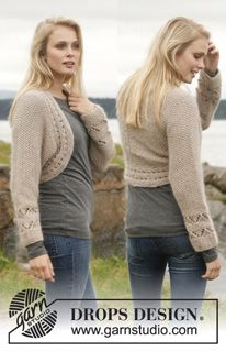 Knitted DROPS bolero with lace pattern and seed st in Alpaca and Kid-Silk. Drops Design, Knit Shrug, Knitted Shawls, Knit Crochet, Crochet Hats, Crochet Shrugs, Crochet Sweaters, Popular Hats, Shrugs And Boleros