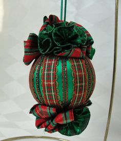 Handmade Satin Christmas Tree Ornament Christmas Plaid Ribbon  by Bobbyes Hobbies, $15.25